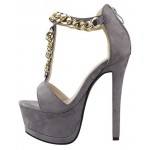 Grey Suede Metal Gold Chain Platforms T Strap Stiletto High Heels Sandals