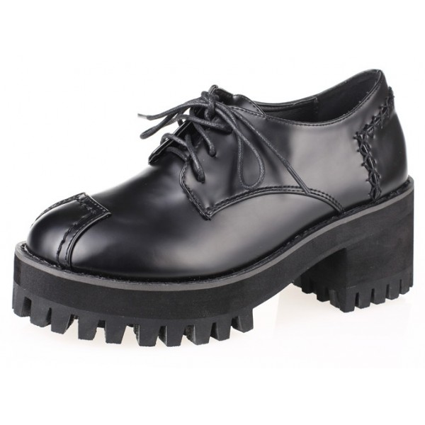 Black Chunky Sole Block Lace Up Heels Platforms Oxfords Shoes