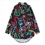 Black Harajuku Cartoon Long Sleeves Chiffon Blouse Oversized Boy Friend Shirt