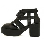 Black Hollow Out Lace Up Oxfords Chunky Heels Creepers Shoes