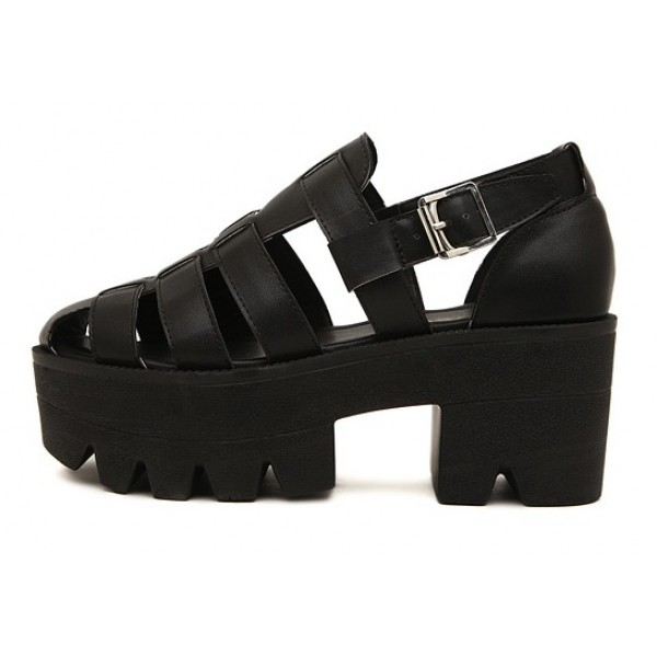 Black Hollow Out Strappy Chunky Sole Heels Gladiator Sandals Shoes