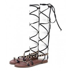 Black Metal Studs Thin Straps High Top Boots Roman Gladiator Sandals