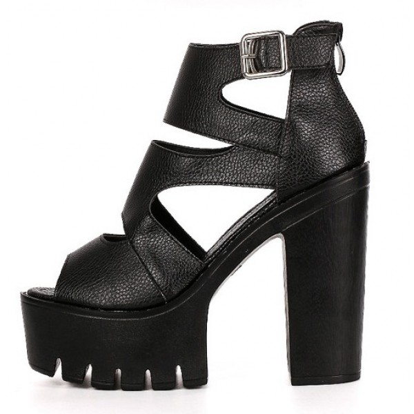 Black Peep Toe Strappy Punk Rock Platforms High Heels Sandals Shoes
