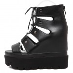 Black Punk Rock Strappy Gladiator Platforms Wedges Sandals Shoes