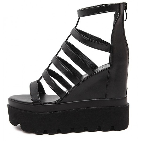 Black Punk Rock Thin Strappy Gladiator Platforms Wedges Sandals Shoes