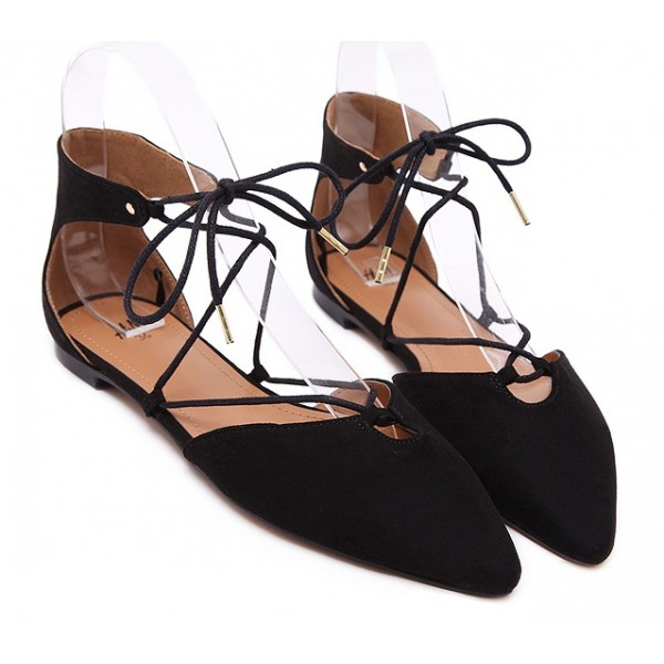 Black Suede Point Head Strappy Ballerina Ballets Flats Shoes