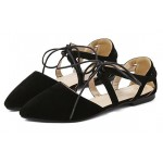 Black Suede Point Head Strappy Ballerina Ballets Sandals Flats Shoes