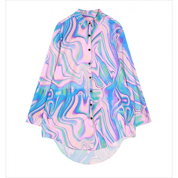 Blue Pink Galaxy Universe Long Sleeves Chiffon Blouse Oversized Boy Friend Shirt