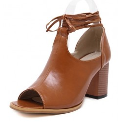 Brown Peep Toe Ankle Straps Punk Rock Sandals High Heels Shoes
