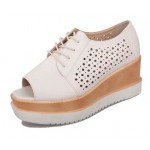 Cream Leather Hollow Out Peep Toe Lace Up Platforms Wedges Oxfords Shoes