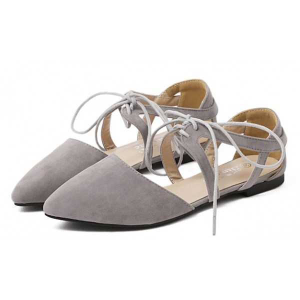 Grey Suede Strappy Straps Bandage Point Head Flats Shoes