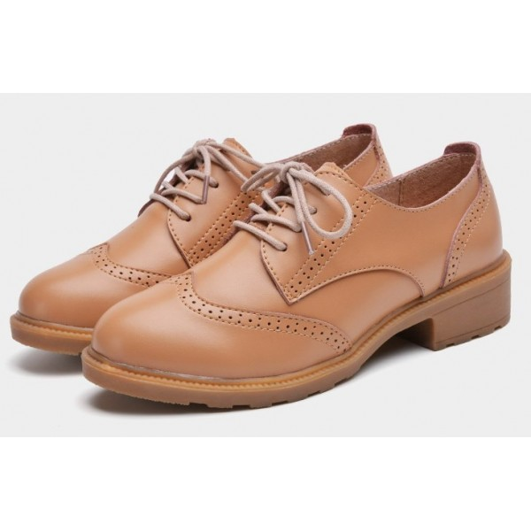 Khaki Vintage Old School Lace Up Oxfords Shoes