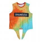 Orange Shameless Galaxy Universe Tie Dye Sleeveless T Shirt Cami Tank Top