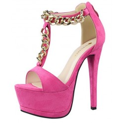 Pink Fushia Suede Metal Gold Chain Platforms T Strap Stiletto High Heels Sandals