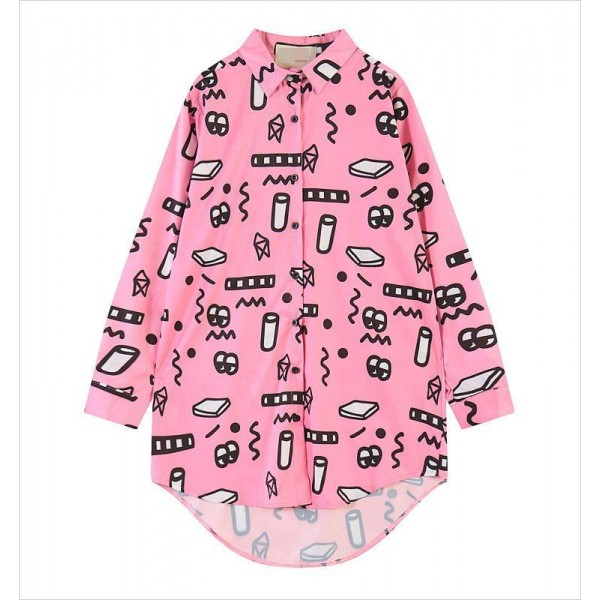 Pink Harajuku Cartoon Long Sleeves Chiffon Blouse Oversized Boy Friend Shirt