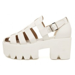White Hollow Out Strappy Chunky Sole Heels Gladiator Sandals Shoes