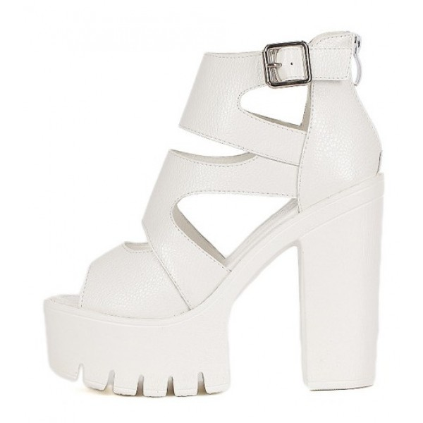White Peep Toe Strappy Punk Rock Platforms High Heels Sandals Shoes