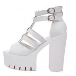 White Peep Toe Straps Punk Rock Platforms High Heels Sandals Shoes