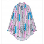 White Pink Blue Harajuku Cartoon Long Sleeves Chiffon Blouse Oversized Boy Friend Shirt