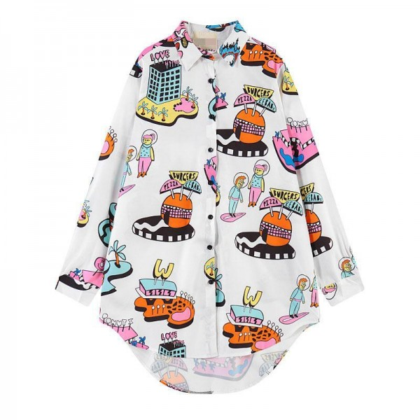 White Pizza Kebab Burger Cartoon Long Sleeves Chiffon Blouse Oversized Boy Friend Shirt
