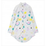 White Watermelons Cartoon Long Sleeves Chiffon Blouse Oversized Boy Friend Shirt