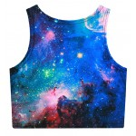 Blue Sky Galaxy Stars Sleeveless T Shirt Cami Tank Top