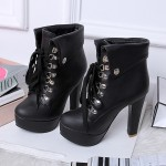 Black Lolita Punk Rock Lace Up High Heels Platforms Boots Shoes