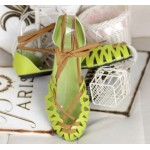 Lime Green Hollow Out Sexy Strappy Ballerina Ballets Gladiator Sandals Flats Shoes