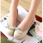 Cream Bow Platforms Ballerina Ballets Flats Shoes