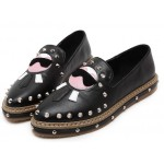 Black Karl Old White Head Man Punk Rock Loafers Flats Shoes