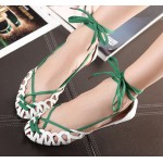 White Green Hollow Out Sexy Strappy Ballerina Ballets Gladiator Sandals Flats Shoes