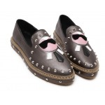Grey Silver Karl Old White Head Man Punk Rock Loafers Flats Shoes