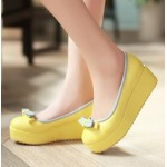 Yellow Bow Platforms Ballerina Ballets Flats Shoes