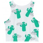 White Kaktus Cartoon Sleeveless T Shirt Cami Tank Top