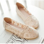 Cream Hollow Out Crochet Vintage Ballerina Ballets Casual Loafers Flats Shoes