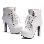 White Lolita Punk Rock Lace Up High Heels Platforms Boots Shoes