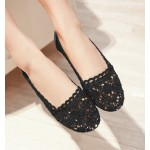 Black Hollow Out Crochet Vintage Ballerina Ballets Casual Loafers Flats Shoes