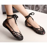 Black Hollow Out Sexy Strappy Ballerina Ballets Gladiator Sandals Flats Shoes