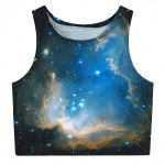 Black Blue Galaxy Stars Sleeveless T Shirt Cami Tank Top