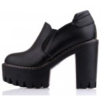 Black Gothic Chunky Sole Block High Heels Platforms Pumps Ankle Boots Shoes