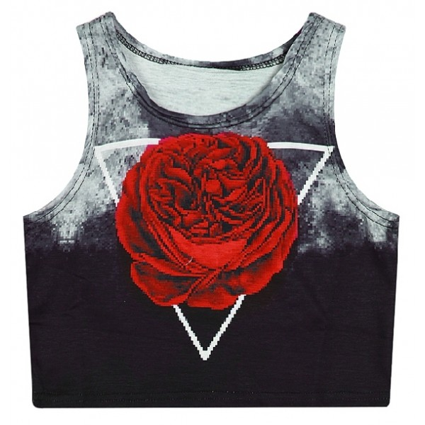 Black Red Giant Rose Sleeveless T Shirt Cami Tank Top
