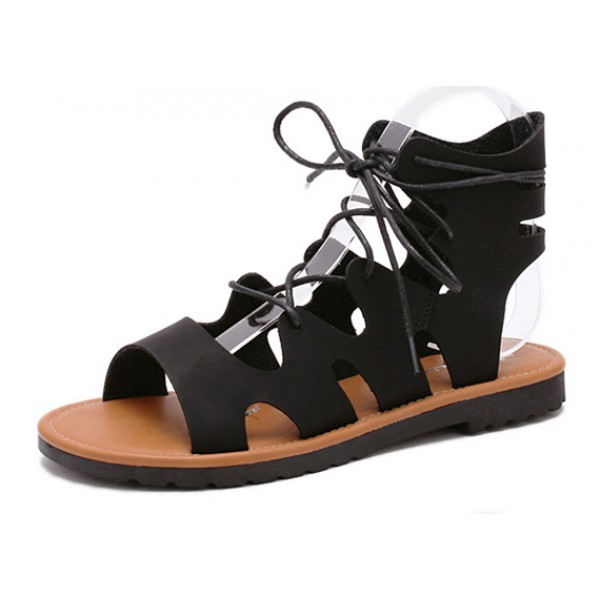 Black Straps Gladiator Roman High Top Sandals Flats Shoes