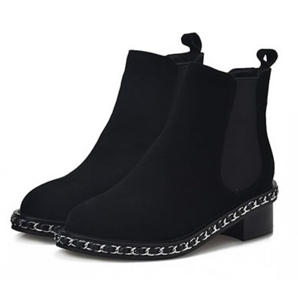 Black Suede Metal Chain Punk Rock Ankle Chelsea Boots Shoes