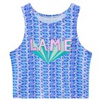 Blue Lame Sleeveless T Shirt Cami Tank Top