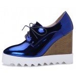 Blue Metallic Shiny Lace Up Platforms Wedges Oxfords Shoes