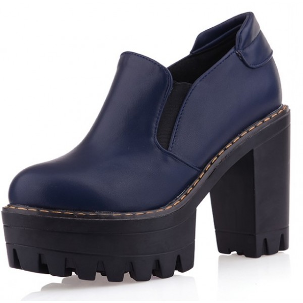 Blue Navy Gothic Chunky Sole Block High Heels Platforms Pumps Ankle Boots Shoes