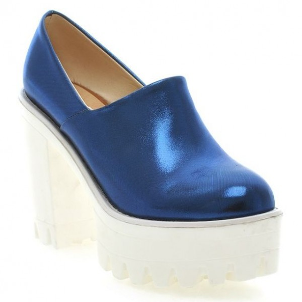 Blue Patent Glossy Chunky Sole Block High Heels Platforms Pumps Ankle Boots Shoes