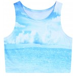 Blue Sky Ocean Cloud Sleeveless T Shirt Cami Tank Top