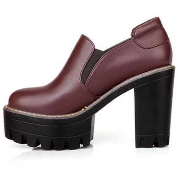 Burgundy Gothic Chunky Sole Block High Heels Platforms Pumps Ankle Boots Shoes