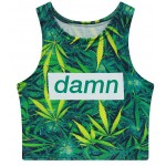 Green Hemp Leaves Damn Sleeveless T Shirt Cami Tank Top
